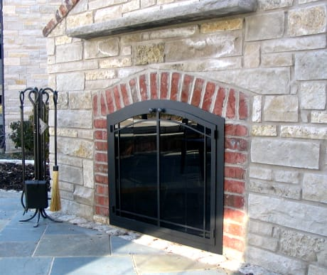 legendarchwithwindowpanedesignoutdoorfireplace
